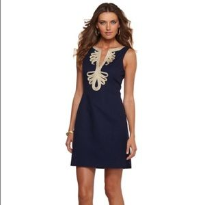 Lily Pulitzer Janice shift dress in navy and gold